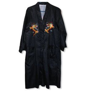 Vintage Dragons Embroidered Black Kimono M/L